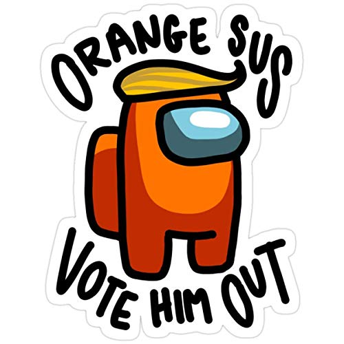 DKISEE Stickers Orange Sus Vote Him Out 4 Inch Bag (3 Pcs/Pack) Water Bottle Vinyl Decals