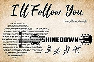 I'll Follow You Shinedown Signatures with Guitar and Lyrics- Print Poster Wall Art Home Décor