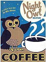 Night Owl Coffee ティンサイン ポスター ン サイン プレート ブリキ看板 ホーム バーために
