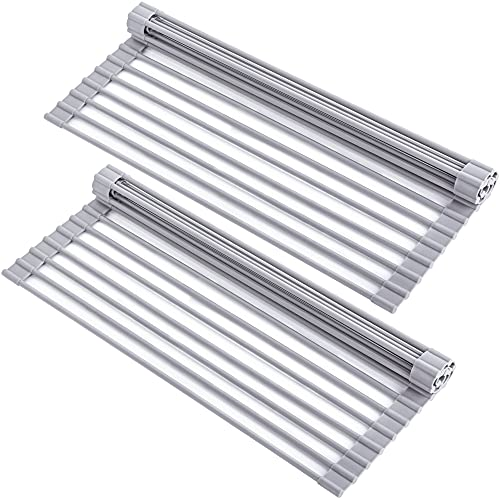 YIHONG 2 Pack Roll Up Dish Drying Rack, 17 x13 Inch Over The Sink Dish Drying Rack, Kitchen Multipurpose Foldable Dish Drainer for Sink Counter,Gray