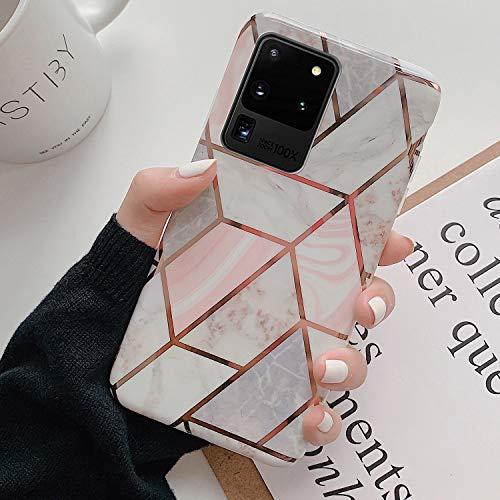 URFEDA Marmor Hülle Kompatibel mit Samsung Galaxy S20 Ultra Hülle Handyhülle Glitzer Mädchen Schuzhülle Marmor Muster Glänzend Glitzer Bling Ultra Dünn Weich TPU Silikon Bumper Case Cover Tasche,B