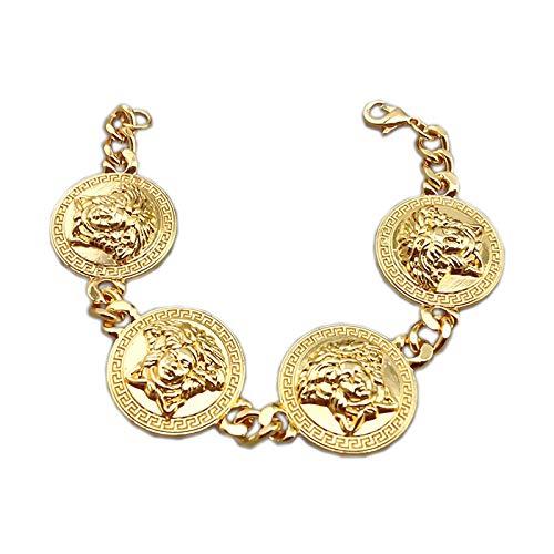 Medusa 4-Kopf Armband Massiv Kette Bracelet Style Ice Schmuck Gold Trend Fame