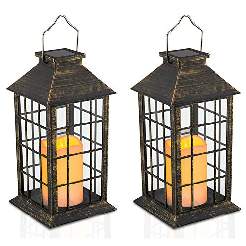 Yodotek Set of 2 Outdoor Solar Candle Lantern Flickering Flameless LED Candle/Plastic Hanging Lantern Golden Brushed Decorative Lantern for Patio Pathway Deck Christmas Halloween Garden Decor