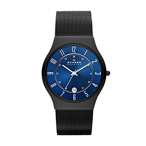 Skagen Men's Grenen Analog-Quartz Watch with Stainless-Steel Strap, Black, 22 (Model: T233XLTMN)