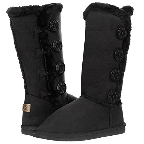 Women's Four Button Faux Fur Lined Shearling Mid Calf Winter Boots (7, Black)