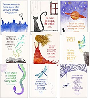 ECHO-LIT LLC Children`s Literature Inspirational Quote Nine Poster Set for Home Classroom or Library