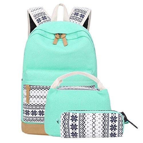 School Backpacks for Teen Girls Lightweight Canvas Backpack Bookbags Set (Light Green)