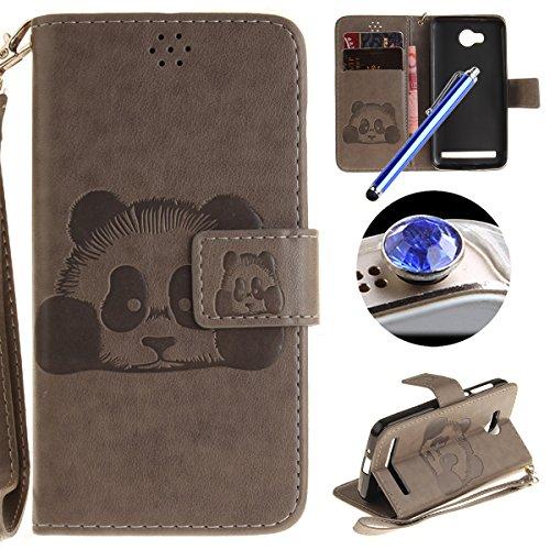 [ Huawei Y3 II,Huawei Y3 2 ] Cuir Coque,Huawei Y3 II,Huawei Y3 2 Housse de téléphone en Cuir, Etsue Retro Panda Motif Portefeuille en Cuir Flip Couverture de Case avec Lanière et Carte de Visite Dossier Fonction pour Huawei Y3 II,Huawei Y3 2 + Cadeaux Gratuit + 1 x Bleu stylet + 1 x Bling poussière plug (couleurs aléatoires)-Gris