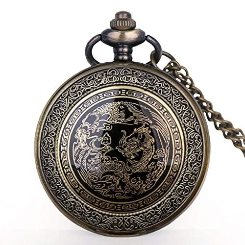 XXCHUIJU Retro Bronce dragón patrón diseño Bolsillo Reloj Collar Colgante Cuarzo Fob Reloj Hombres para Mujer Regalos