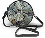 BAODANLA Bolso redondo mujer Plant Leaves Pattern Background Women Soft Leather Round Shoulder Bag Zipper Circle Purses Sling Bag