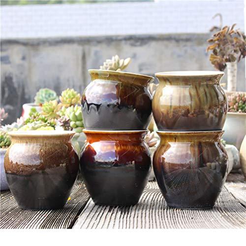 MNYHY Blumentopf Landhausstil Braun Egradient Weiß Porzellan Atmungsaktive Steinzeug Töpfe Und Fleisch Pflanzen Töpfe / 5 Stück