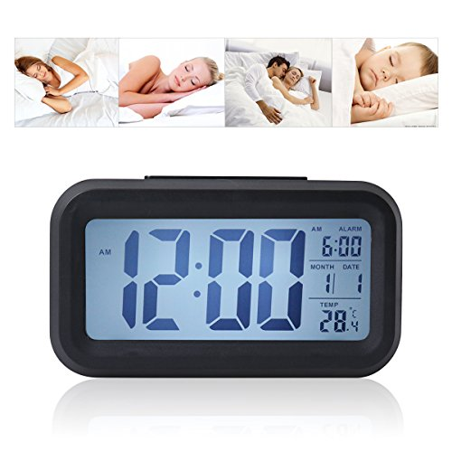 Digital Alarm Clock with Sensor Light, Date Temperature Display, Snooze Led Travel Alarm Clock, Desk Clock - by O-Best (Black)