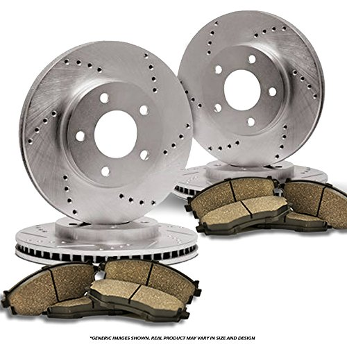 4 Cross-Drilled Disc Brake Rotors 8 Ceramic Pads Heavy Tough-Series Fits:- Lexus Toyota Front+Rear Kit 5lug