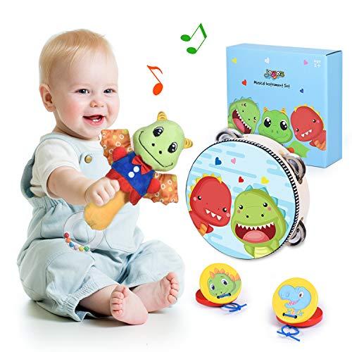 Joyjoz Musikinstrumente Baby Rasseln Trommel Dinosaurier Holz Musikspielzeug Kastagnetten für Babys Kleinkinder Neugeborene 3 Monate