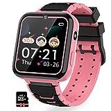 Montre Intelligente pour Enfants 7 Jeux - Musique MP3 Montre Enfants Fille Garçon, Appels Téléphoniques Montre à écran Tactile pour Enfants, Caméra, SOS, Smart Watches 3-12 Ys (Pink)