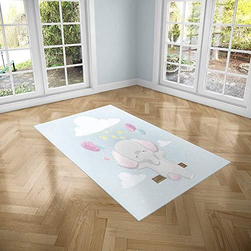 Oedim Alfombra Infantil Elefante para Habitaciones PVC | 95 x 120 cm |Moqueta PVC | Suelo vinílico | Decoración del Hogar | Suelo Sintasol | Suelo de Protección Infantil |
