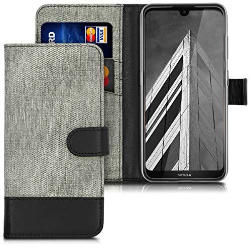 kwmobile Nokia 3.2 (2019) Hülle - Kunstleder Wallet Case für Nokia 3.2 (2019) mit Kartenfächern & Stand - Grau Schwarz