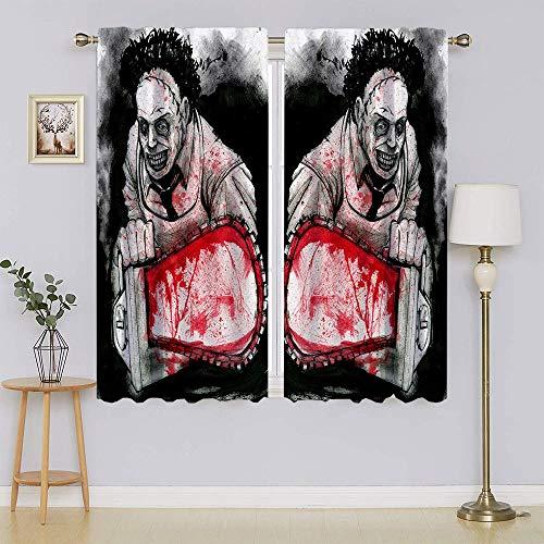 lacencn John Rodriguez Spooky - Cortinas térmicas, con filtro de luz de energía eficiente panel de cortina adorable y sostenible para dormitorio (72 x 63 cm)