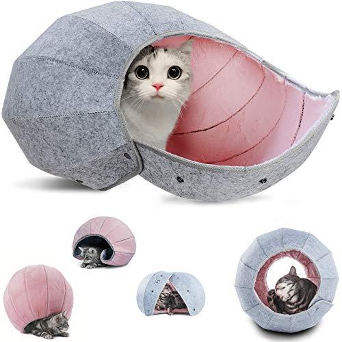 K・1猫 ベッド 猫ハウス かわいい キャットハウス 折りたたみ式 猫 トンネル おもちゃ 猫 ボール ペットハウス 8 in 1多機能 丸洗える 四季通用