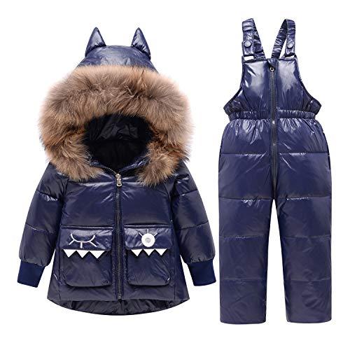 CARETOO Baby Mädchen Jungen Daunenjacke Bekleidungsset Unisex Schneeanzüge Warme Winterjacke + Winterhose Set mit Künstliches Fell Kapuze
