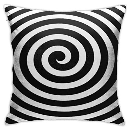 Cup Off Funda de Almohada con Espiral hipnótica en Blanco y Negro hipnosis círculo óptico Abstracto Funda de Almohada Cuadrada para sofá Dormitorio Coche