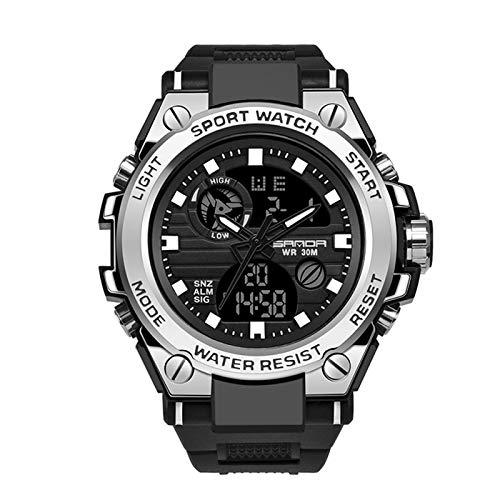 SANDA Herrenuhr Digital Analog Sportuhren Backlight Mann Armbanduhr Männlich mit Alarm Stoppuhr Kalender Chronograph Armbanduhr