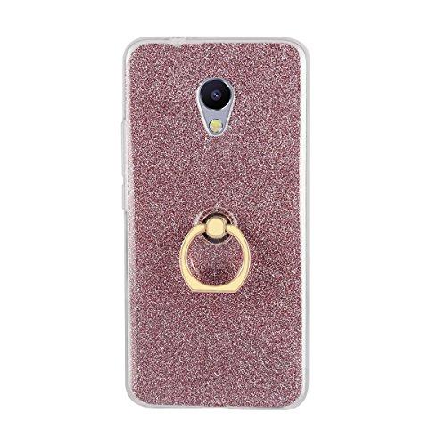 Sunrive Kompatibel mit Meizu MX4 Pro Hülle,360 Grad drehender Ring Kickstand Schutzhülle Etui weiche TPU Abdeckung + Glitzer Bling Papier Hülle TPU MEHRWEG (Ring Lila)