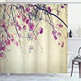 Nature Shower Curtain, Floral Flowers Branches Sakura Blooms Cherry Blossoms Spring Time Photo
