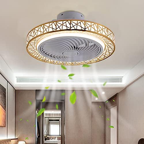 SLYT Ventilador de techo con iluminación moderna LED de techo de 72 W con mando a distancia, velocidad del viento regulable, lámpara de oficina para dormitorio, salón, comedor (dorado)