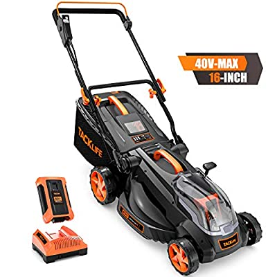 """TACKLIFE Cordless Lawn Mower, Lawn Mower 16"""", 40V 4.0AH Battery with Indicator, 6 Mowing Heights, 98% Clippings Collected, Foldable Tool Free Storage, 10.5Gal Grass Box"""
