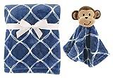 Hudson Baby Unisex Baby Plush Blanket with Security Blanket, Monkey, One Size