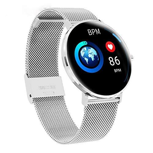 Männer Vollbild-Touch Dünner Smartwatch Wasserdicht Multi-Sport-Modus Uhr Gesicht Fitness Armband Silberstahl