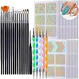 KAHEIGN Kit de Pintura de Uñas, 24 Hojas / 144 Piezas Plantillas de Vinilos de Uñas con 15 Pinceles de Diseño de Uñas Y 5 Piezas Herramienta de Punteado de Uñas para Principiantes Arte Uñas Gel UV
