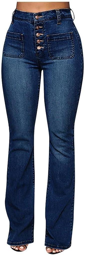 Aiouios Jeans for Women Button High Waist Pocket Stretch Casual Denim Pants Fashion Baggy Wide Leg Jeans Trousers Streetwear