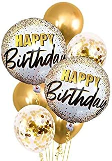 Party Propz set of 7 Pcs Gold foil Printed balloons combo for Golden Balloon Decoration/Girls birthday decoration
