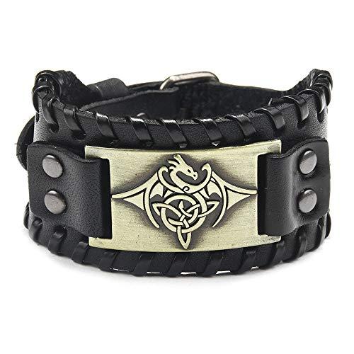 ADGJL Bracelet Cuir Femme,Bracelet en Cuir De Style Nordique À La Main Tressé Dragon Bijoux Manchette Bracelet Noir Bracelets Fermoir Poli pour Hommes Femmes Cadeau
