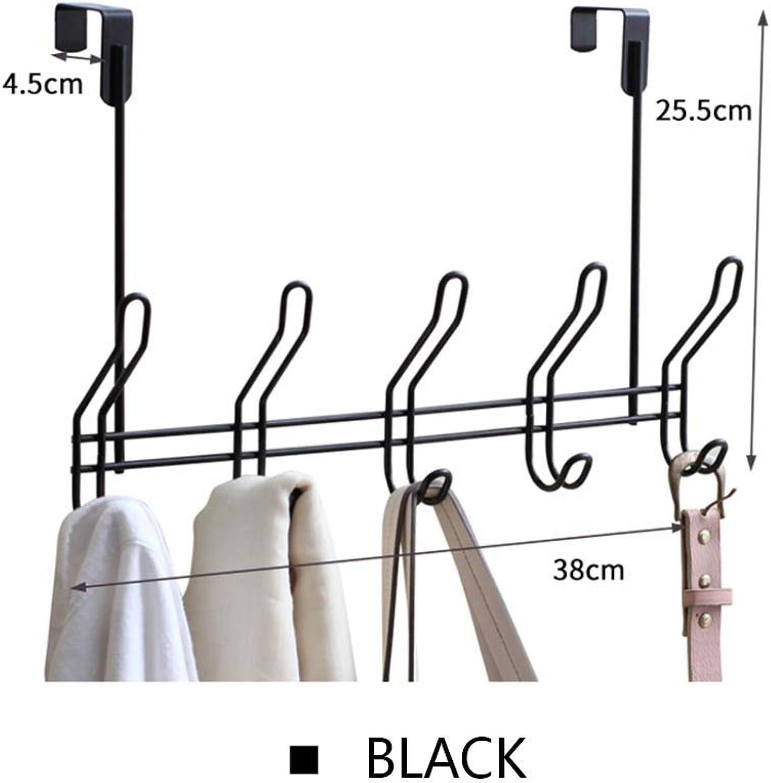 JIAYING Back Door Hook Creative Coat Hook, Nail-Free Door Back Hook with 10 Metal Hooks, Suitable for Clothes, Keys, Hats, Scarves, Umbrellas, Etc. (color   Black)