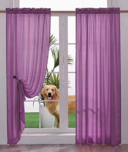 Yancorp Non-See-Through Velvet Opaque Privacy Curtains 2 Panels Drapes for Living Room Bedroom Doorway Divider Semi Sheer Curtain Kithen Window Panels (Purple, W33 X L45)