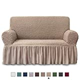 NICEEC Loveseat Slipcover Khaki Loveseat Cover 1 Piece Easy Fitted Sofa Couch Cover Universal High Stretch Durable Furniture Protector Love Seat with Skirt Country Style (2 Seater Khaki)
