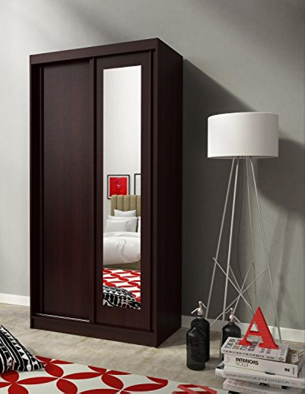 Furniture24-eu Kleiderschrank Schwebetürenschrank Alaska mit Spiegel (100 206 58 cm B H T, Sonoma shoko)