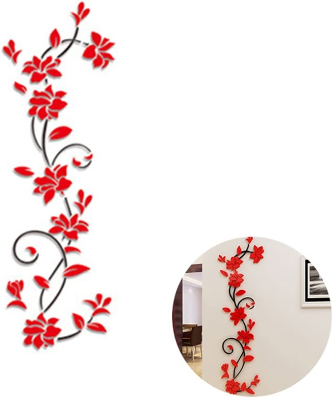 Amosfun Wall Decorations for Living Room Removable 3D Rose Flower Rattan Wall Stickers Living Room TV Background Wall Decals Mural Home Decor (Red Flowers)