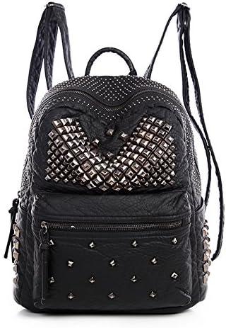 Ladies Women PU Leather Backpack Rivet Studded Cute Satchel School Bags Black L product image