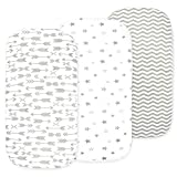 Baby Bassinet Sheet Set for Boy and Girl, 3 Pack, Universal Fitted for Oval, Hourglass & Rectangle Bassinet Mattress, Fitted Sheets Size 32 x 16 x 4 Inches, Grey