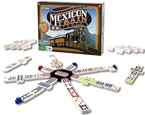 Dominó Mexican Train de Pressman - Dominó de Colores bellamente Set Incluye marcadores de Tren y Cubo