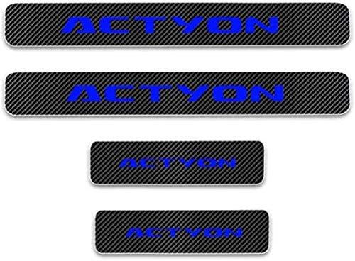 Anti-Kratz-Platte für Autoschwelle für Passend für 4 Stück Externes Carbon-Faser-Leder-Auto Kick-Platten Pedal for Ssangyong Actyon, Einstieg Willkommen Pedal-Tritt Scuff Threshold Bar Pr.