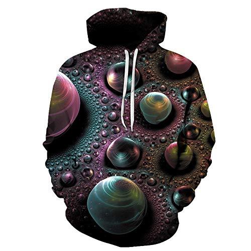 ASHGNV Bola de Perlas de Color Impresión Digital 3D Sudadera con Capucha Unisex HD Pullover Sudadera Ligera Conjunto de Pareja de bolsillo-2XL