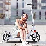 Hesyovy Patinete ligero estilo T estable, de aleación de aluminio, plegable y de altura regulable, ruedas grandes de 195 mm, para adultos (blanco clásico)