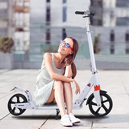 Hesyovy Leicht Scooter T-Style Stabile, aus Aluminiumlegierung, Klappbar und Höhenverstellbar, Big Wheel 195mm Räder Cityroller für Erwachsene (Klassisches Weiß)