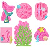6 Piece Marine Themed Silicone Fondant Chocolate Moulds for Cake Cupcake Decoration or Making Clay, Including Mermaid Tail, Seahorse, Starfish, Conch, Seashell, Coral Molds