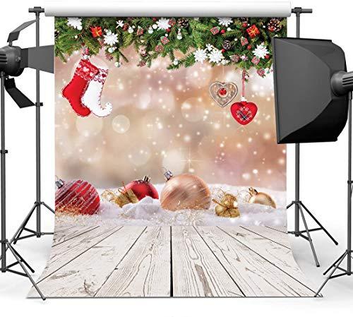 WOLADA 10825 - Fondo para fotografía de Navidad con suelo de madera, vinilo, fondo de fotografía para recién nacido, fiesta y evento